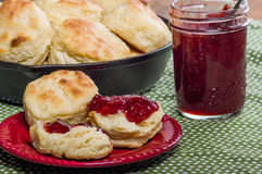 Fresh baked biscuits and jam or preserves Royalty Free Stock Photo