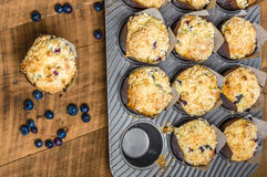 Fresh baked blueberry muffins on table Royalty Free Stock Photography