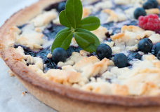 Fresh baked blueberry pie. Blueberry pie with fresh blueberries and a raspberry Stock Photo