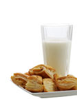 Fresh baked bourekas  with glass of milk Royalty Free Stock Photo