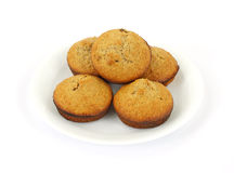 Fresh baked bran muffins on white plate Stock Photo