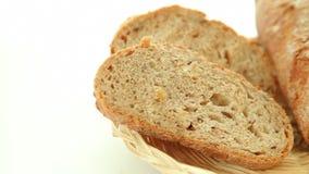 Fresh baked bread in basket stock video