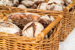 Fresh baked bread in baskets Royalty Free Stock Images