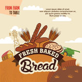 Fresh baked bread from farm to table. Advertising poster with label Royalty Free Stock Image