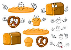 Fresh baked bread loaf, cupcake and pretzel Royalty Free Stock Photo