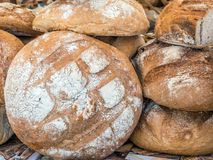 Fresh baked bread loaves. Bunch of crispy loaves of bread Royalty Free Stock Photos