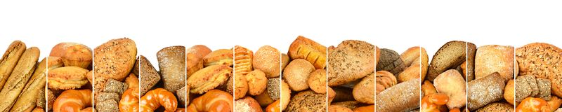 Fresh baked bread products in form vertical lines isolated on wh Royalty Free Stock Image