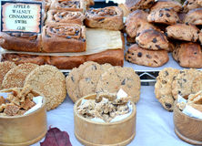 Fresh Baked Bread for sale. Fresh pastries, bread for sale at a farmer`s market in Totnes Devon UK Stock Photography