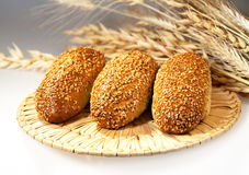 Fresh baked bread with wheat Royalty Free Stock Photos