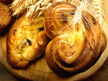 Fresh baked bread with wheat Stock Images