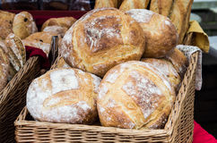 Fresh baked bread in wicker basket Royalty Free Stock Photography