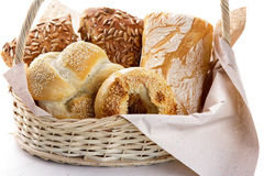 Fresh baked breads on basket Royalty Free Stock Photography