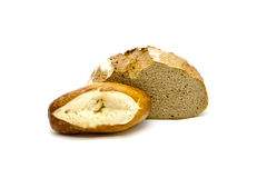 Fresh Baked Brown Bread with Lye Bread Roll Royalty Free Stock Image