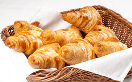 Fresh baked butter croissants on white background ready for breakfast Stock Images