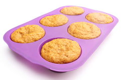 Fresh baked carrot muffins in silicone mold Stock Photography