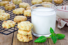 Fresh baked cheese cookies with basil Stock Images