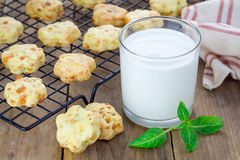 Fresh baked cheese cookies with basil Royalty Free Stock Photography