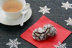 Chocolate crinkle cookies stock photos