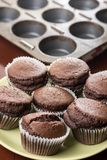 Fresh baked chocolate cup cakes on the plate with baking tray in the background Royalty Free Stock Images