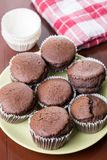 Fresh baked chocolate cup cakes served on the plate with kitchen dishtowel in the background Stock Images