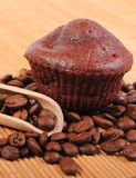 Fresh baked chocolate muffins and coffee grains Royalty Free Stock Photography