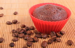 Fresh baked chocolate muffins and coffee grains Stock Image