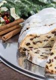 Fresh baked Christmas Stollen Stock Photos