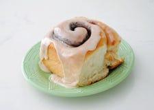 Fresh Baked Cinnamon Roll with Maple Glaze Stock Photo