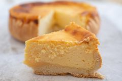Fresh baked classical New York Cheesecake royalty free stock photo