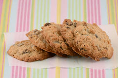 Fresh baked cookies. Fresh baked oatmeal and raisin cookies Stock Images