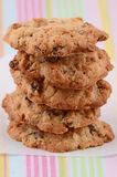 Fresh baked cookies. Fresh baked oatmeal and raisin cookies Royalty Free Stock Images