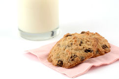 Fresh baked cookies with milk. Fresh baked oatmeal and raisin cookies with glass of skim milk Stock Image