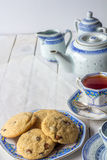 Fresh Baked Cookies and Tea Set with Copy Space Vertical Royalty Free Stock Photo