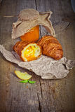 Fresh baked croissants with apricot jam Stock Photos