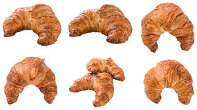 Fresh baked Croissants isolated on white. Some fresh baked Croissants isolated on white background Royalty Free Stock Photos