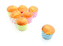 Fresh baked cupcakes. Without decoration before making frosting isolated on white stock image