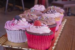 Fresh baked delicious different cupcakes served together royalty free stock photo