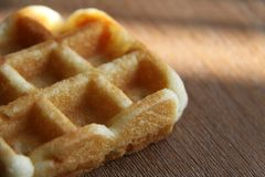 Fresh baked delicious golden waffle stock images