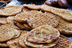 Fresh baked flatbread. Freshly baked flatbread, hot out of the oven Stock Photos