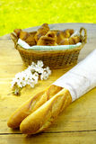 Fresh baked french baguettes and croissants Royalty Free Stock Images
