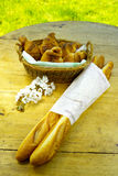 Fresh baked french baguettes and croissants Royalty Free Stock Photo