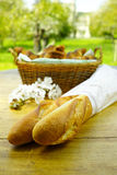 Fresh baked french baguettes and croissants Stock Image