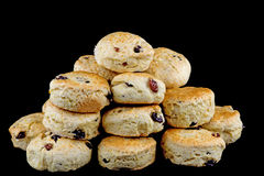 Fresh Baked Fruit Scones on a Black Background Royalty Free Stock Photos