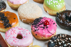 Fresh baked glazed donuts in a box Royalty Free Stock Image