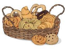 Fresh baked goods and sweet pastries in wicker basket on white background. Croissant, pretzel, raisin buns. Illustration royalty free illustration