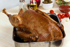 Fresh Baked Goose With Potatoes,apple,pepper,olive Stock Photos