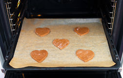 Fresh baked heart shaped cookies. Royalty Free Stock Photos