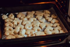 Fresh baked homemade cookies in oven. stock image