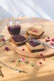 Fresh baked homemade healthy bread with blackcurrant jam Stock Photos