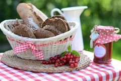 Fresh baked homemade healthy bread with jam Stock Photos